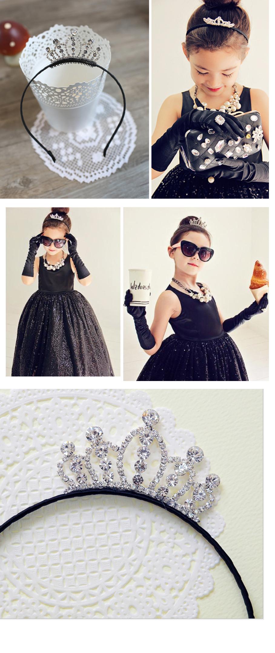Princess Audrey Rhinestones Tiara Crown Hairband