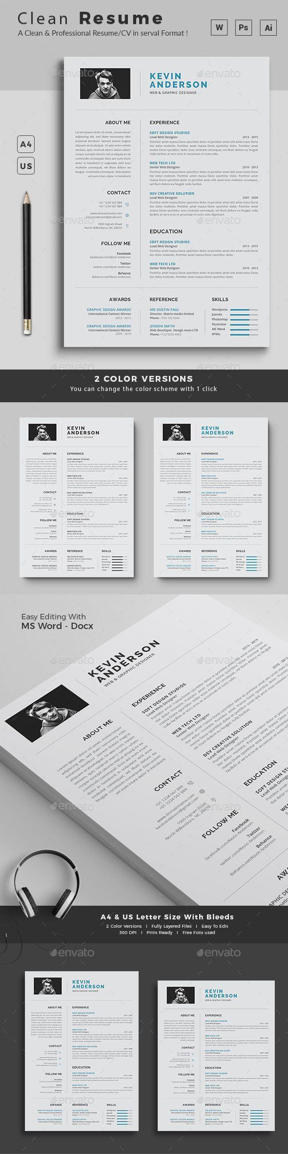 Resume cv template resume clean • Download here