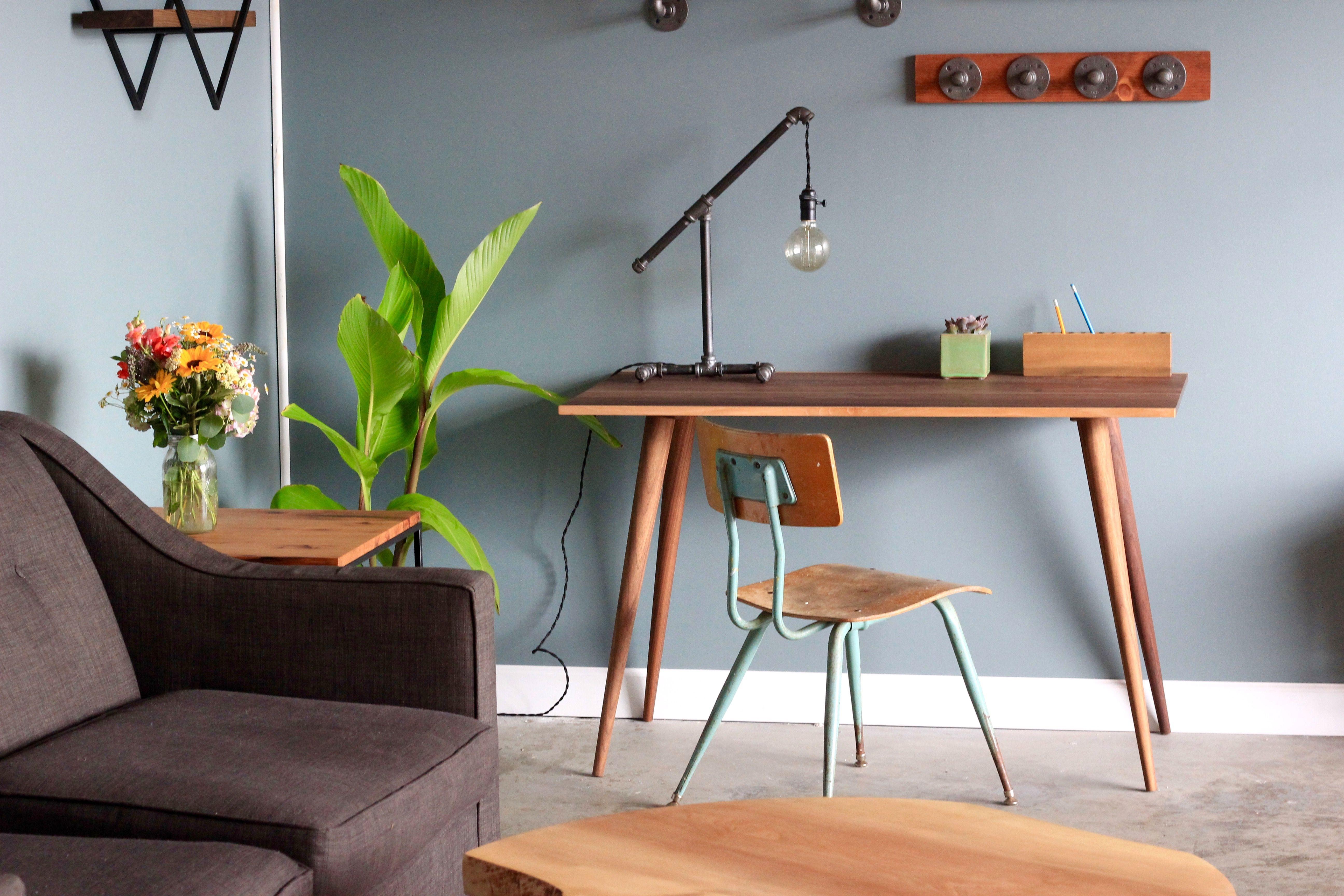 Modern computer desk, home office desk, solid walnut wood