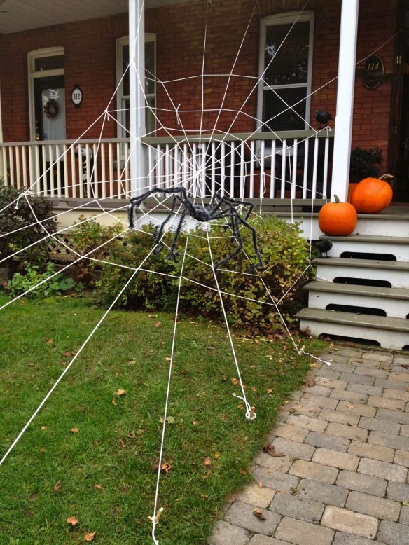 make spider web with rope and throw a spider on it halloweenie halloween spider decorations. Black Bedroom Furniture Sets. Home Design Ideas