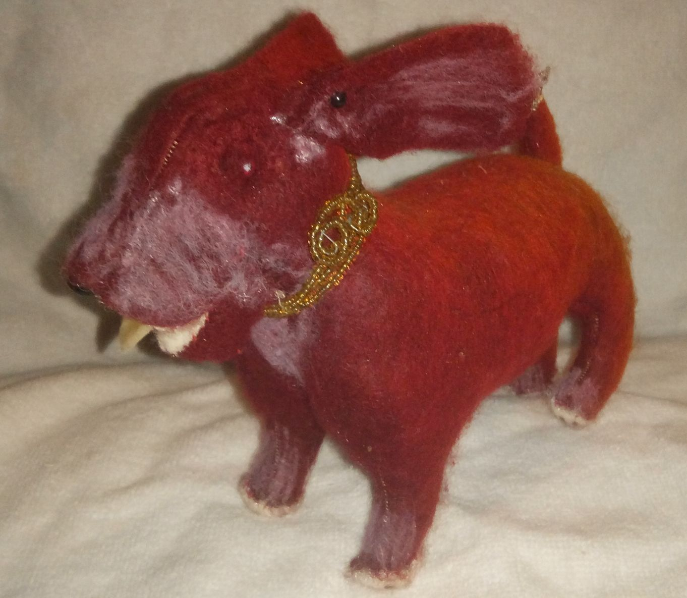 "I'm Flying, a red felted dog.... cute little guy too cute to ignore... 4"" tall by Uncommonfolks on Etsy"