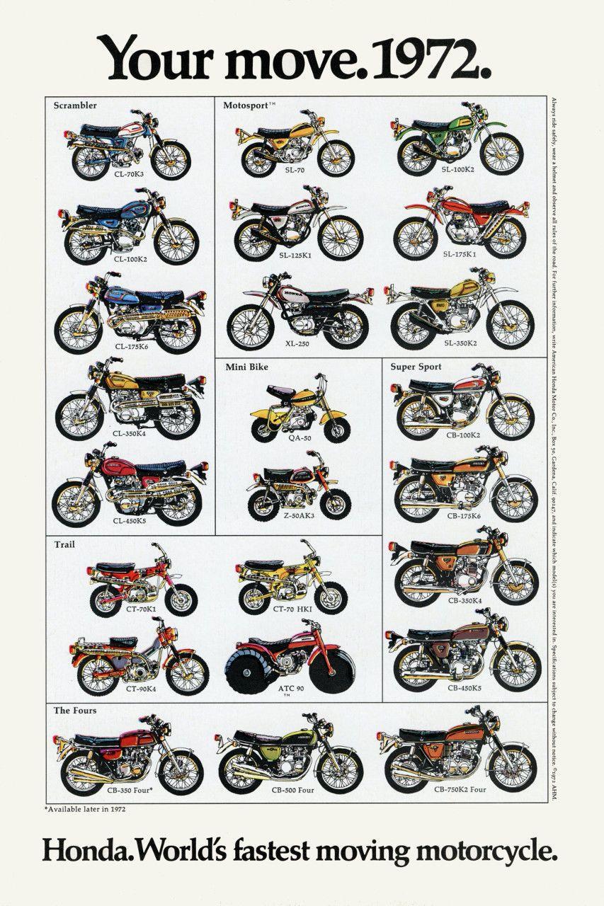 1972 Honda Line Up Full Vintage Motorcycle Poster Print 36x24