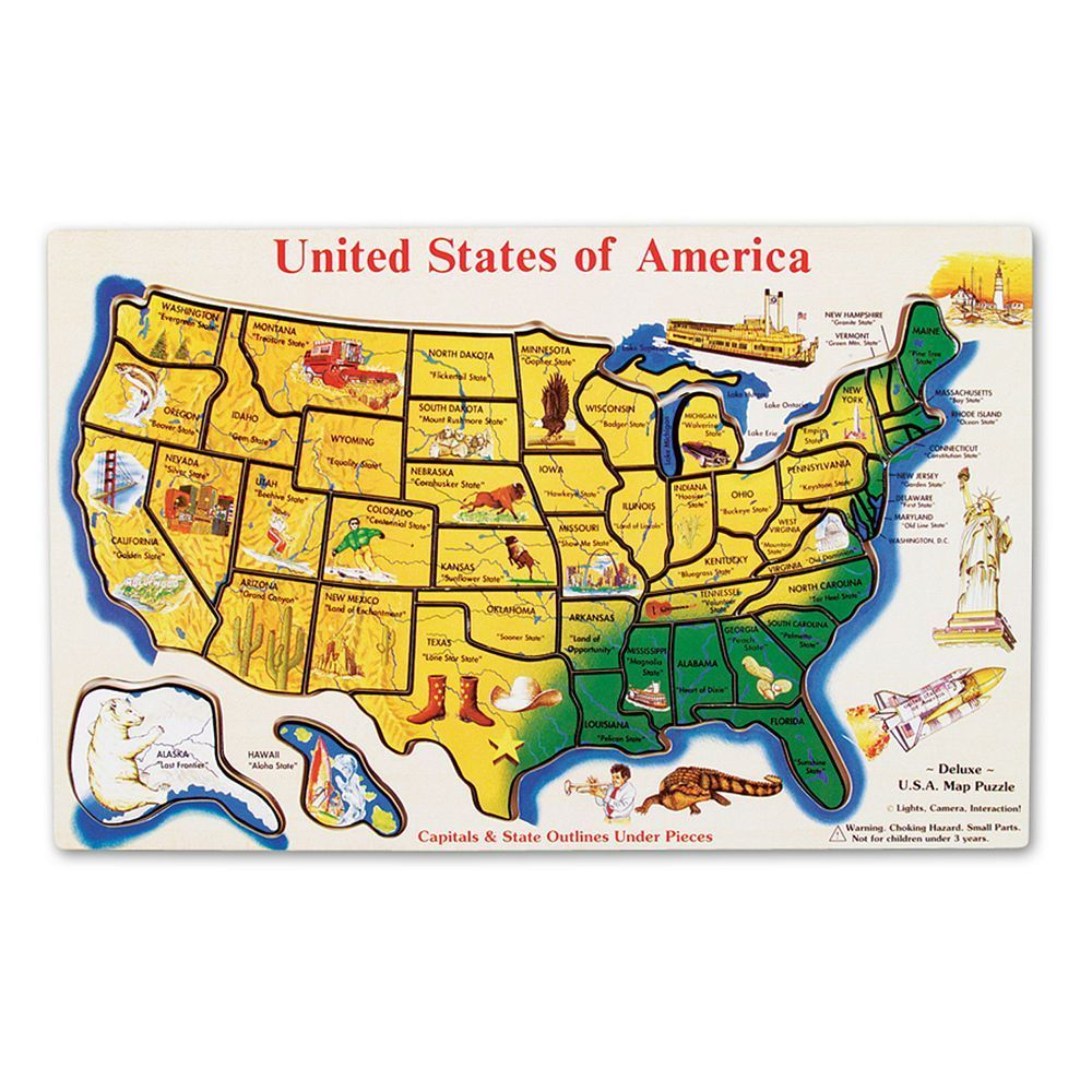 Melissa Doug Wooden Usa Map In 2019 Products Map Puzzle