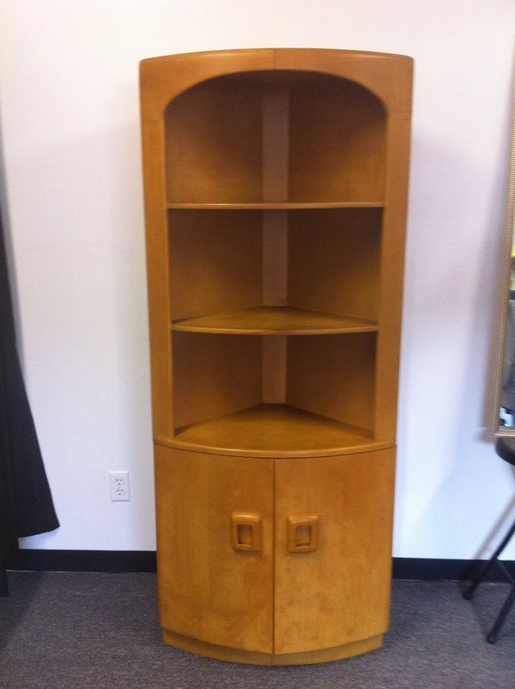 1950s Heywood Wakefield Danish Corner Cabinet Mid Century Hutch Furniture Wheat