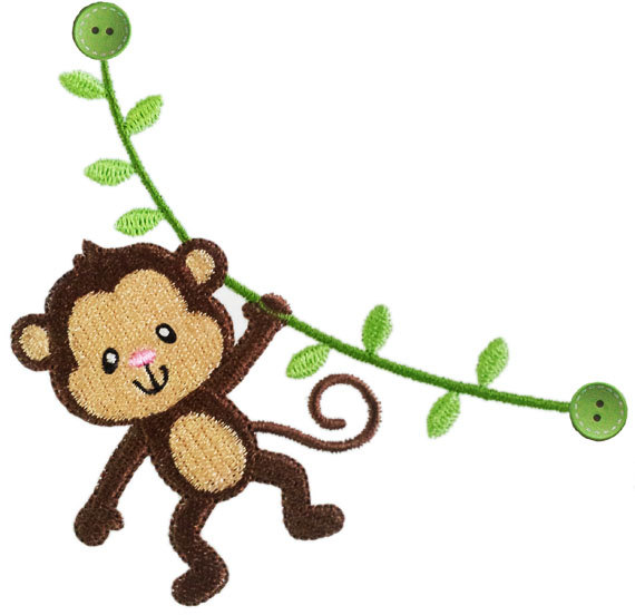 Instant Download Monkey Filled Stitches Machine Embroidery Design No