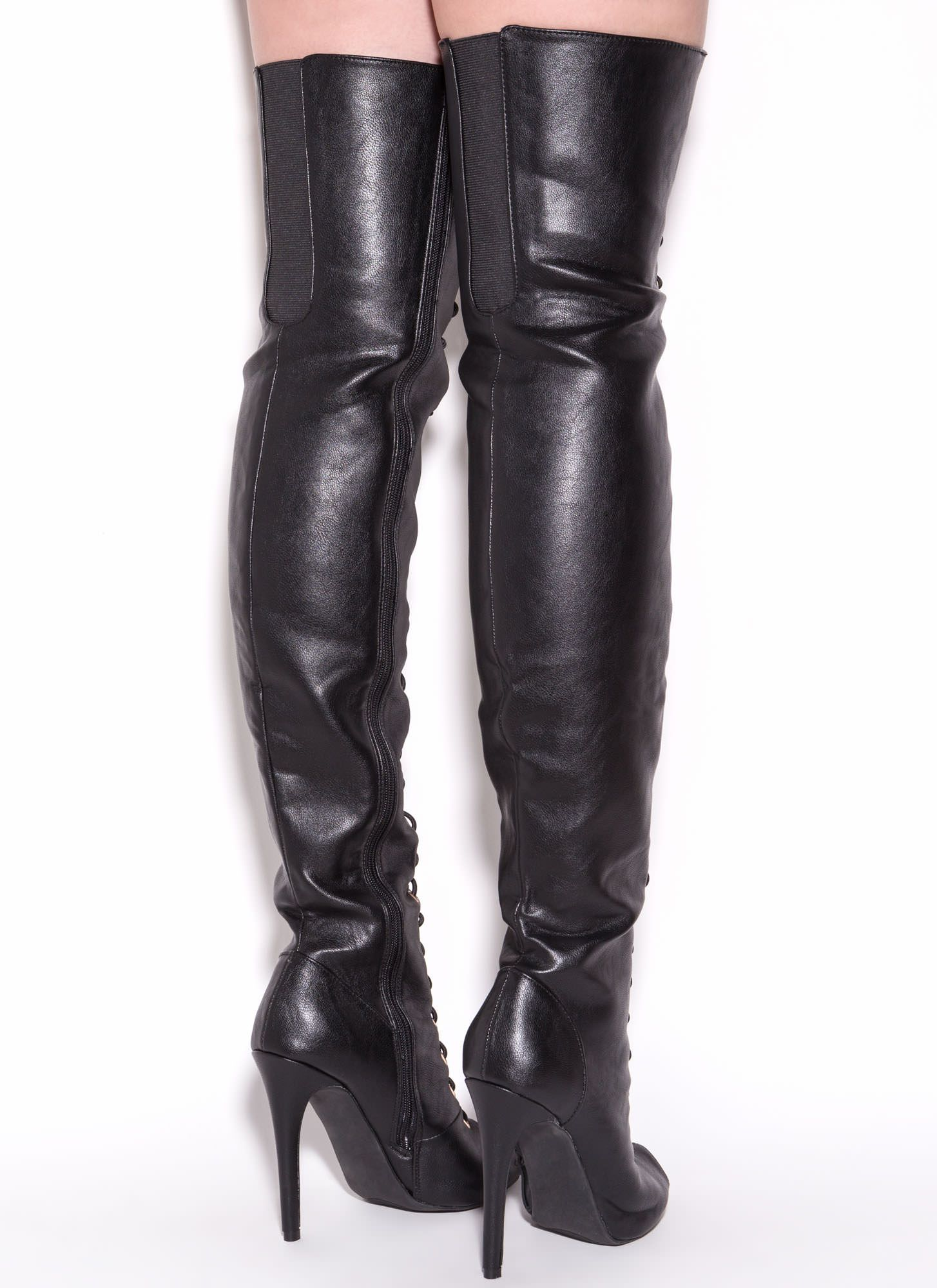 Thigh High Black Leather Boots POmfvywa | 옷감 | Pinterest | Black ...