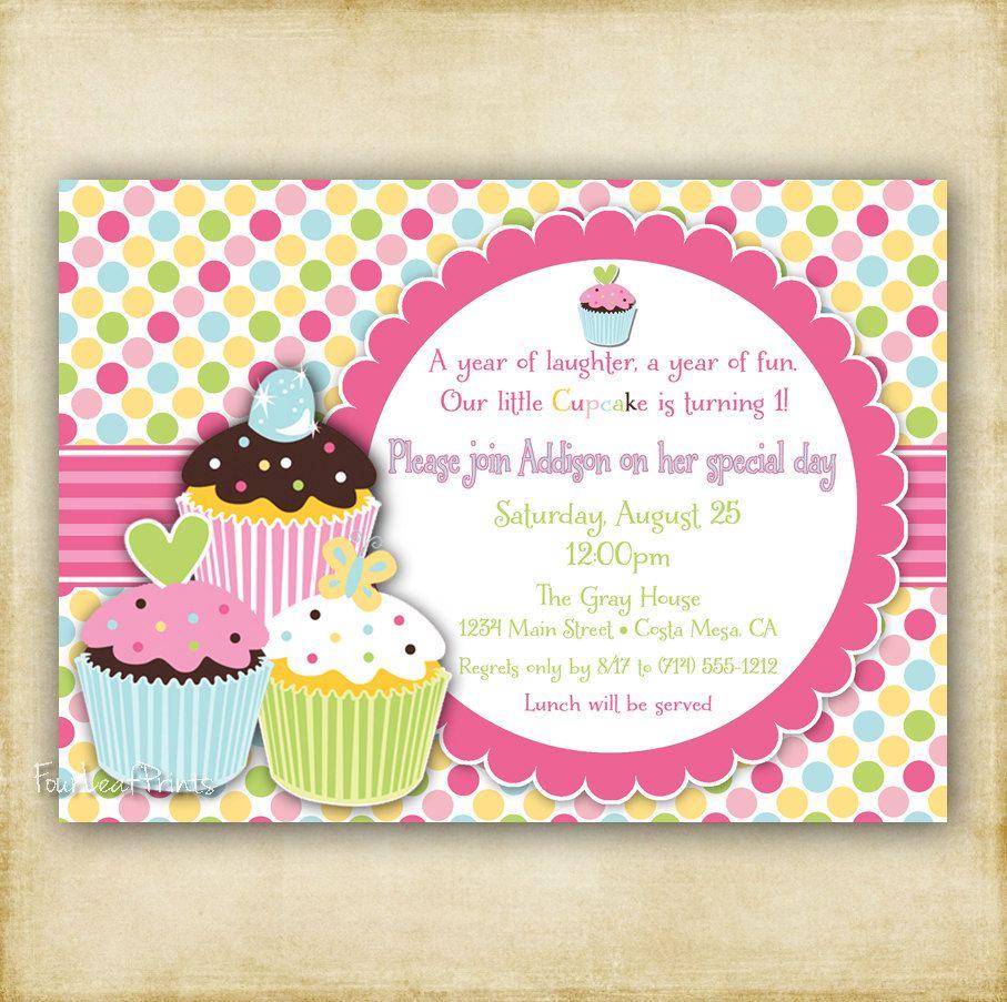 A Cupcake Themed 1st Birthday Party With Paisley And Polka: Polka Dot Cupcake Birthday Invitation
