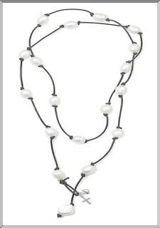 Long Hip Necklace made with Freshwater Pearls on Black Leather
