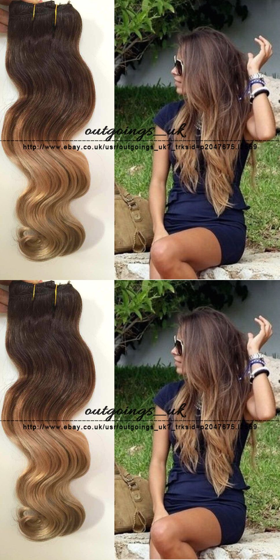 Hair Extensions Balayage Brazilian Remy Clip In Human Hair