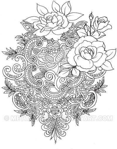 Lace Tattoo By Metacharis Rose Bouquette Color Coloring