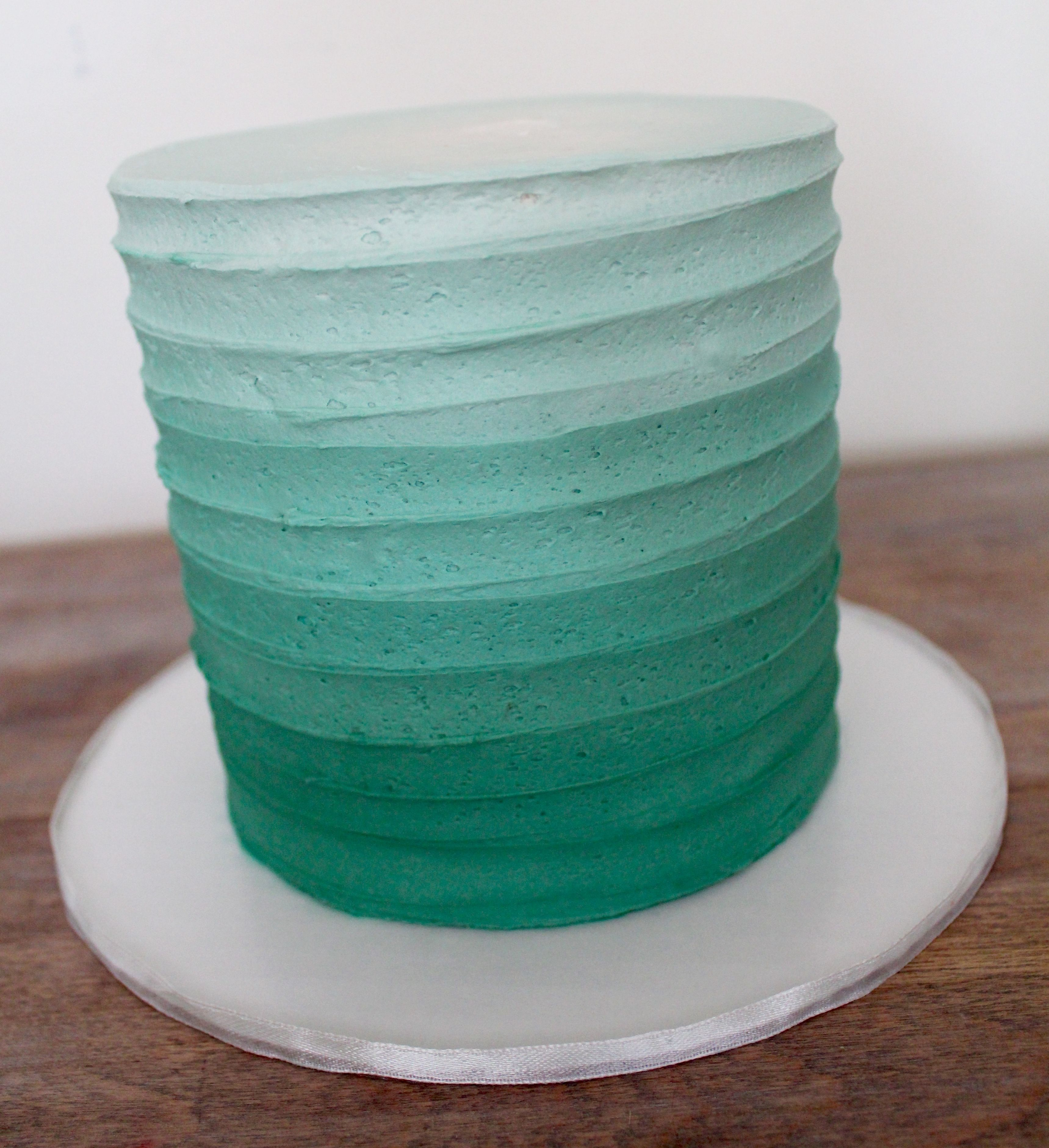 Line Texture Cake : Ombre line textured buttercream cake mint teal green