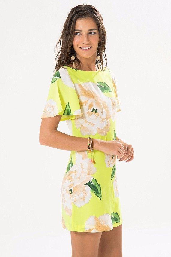 2c177f263 VESTIDO CURTO SAIA FLUORESCENTE Vestido Florido Curto, Vestido Verão 2018, Vestido  Leve, Modelo