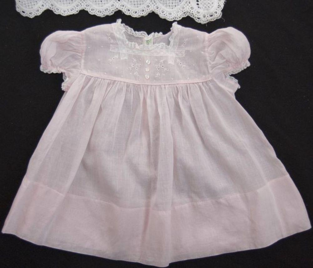 Vtg Feltman Brothers Baby Girls Dress Pink Batiste