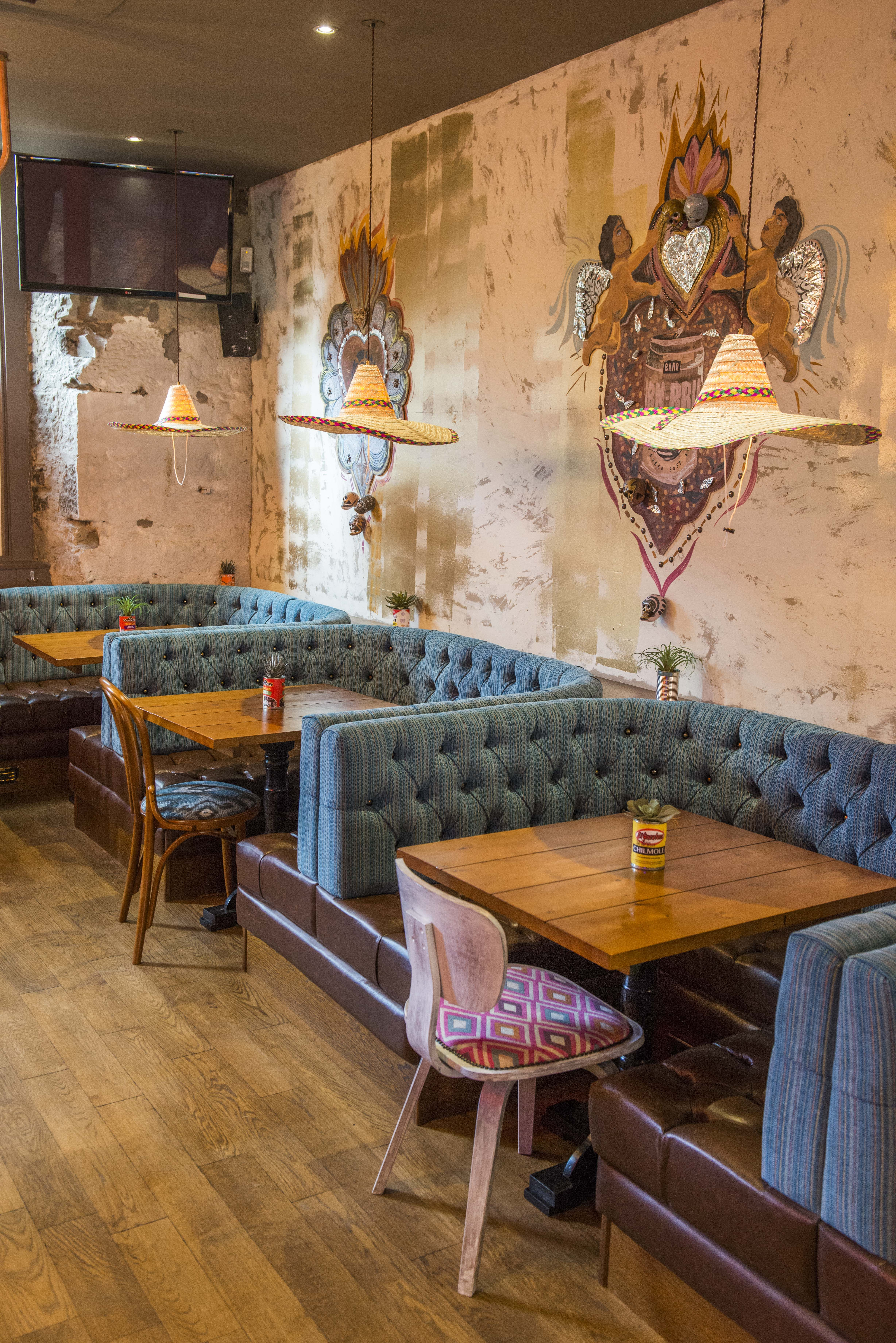 Diablo Loco  Edinburgh is part of Pub interior - Tequila infused party den  Vibrant and colourful interior design full of Mexican mischievousness