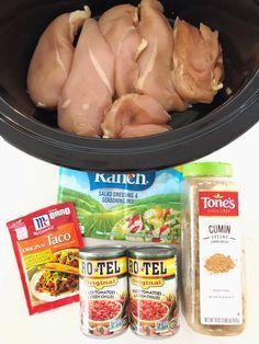 Two Minute Crockpot Chicken Tacos Recipes #tacorecipes