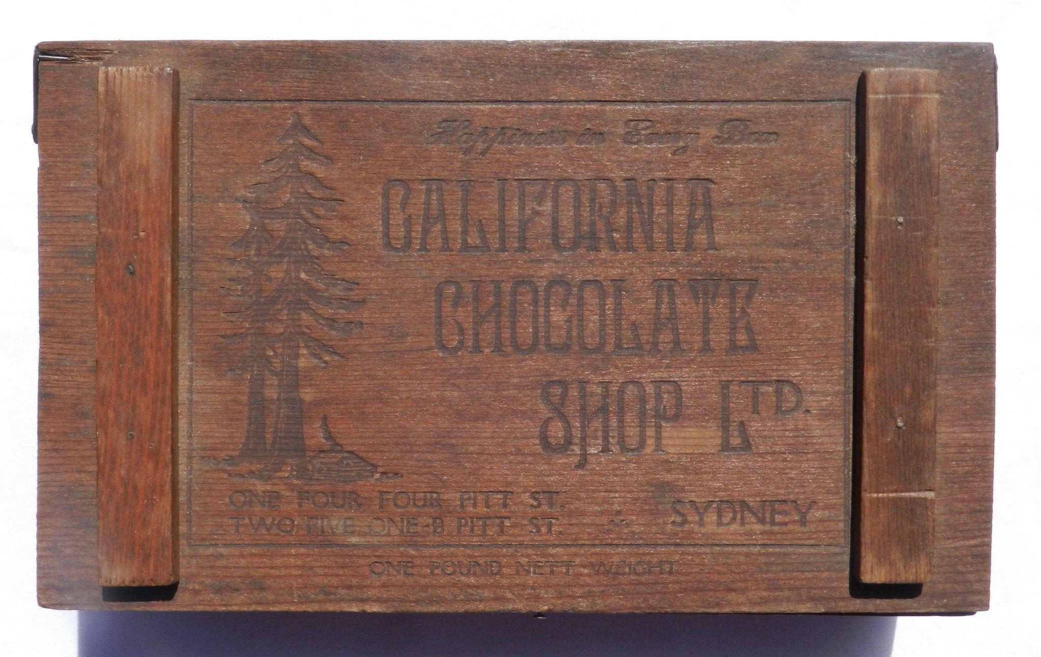 California Chocolate Wooden Box 1940s Antiquities Wooden
