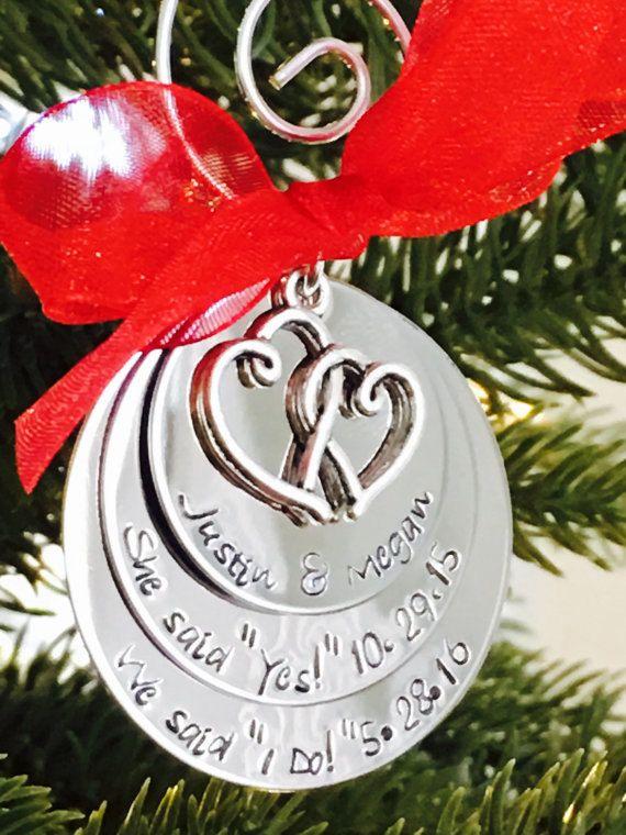 Newlywed Newly Engaged Christmas Tree Ornaments
