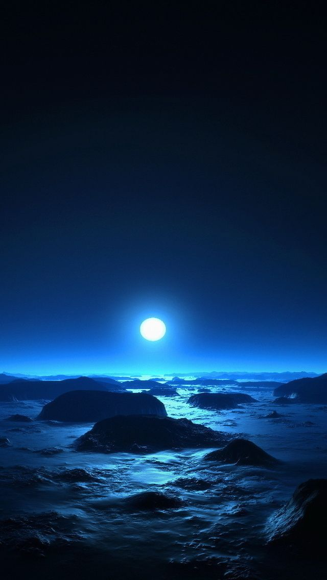 Tap And Get The Free App Nature Shining Moon Night Bright Mystic Dark Blue Hd Iphone 5 Wallpaper Water Reflection Photography Beach At Night Full Moon Night