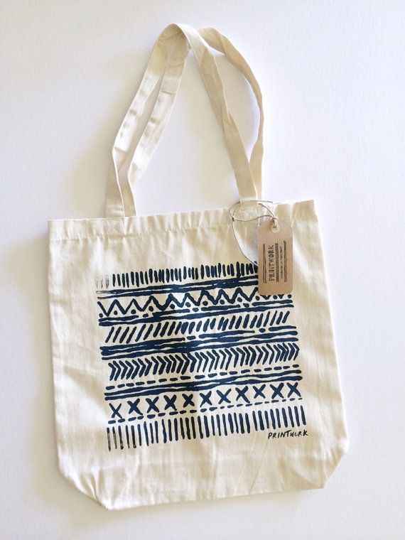 Natural 100 Cotton Canvas Tote Fun Patterns And Lines