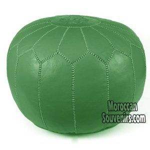 Stuffed Moroccan Pouf, Pouffe, Ottoman, Poof, Color : Green