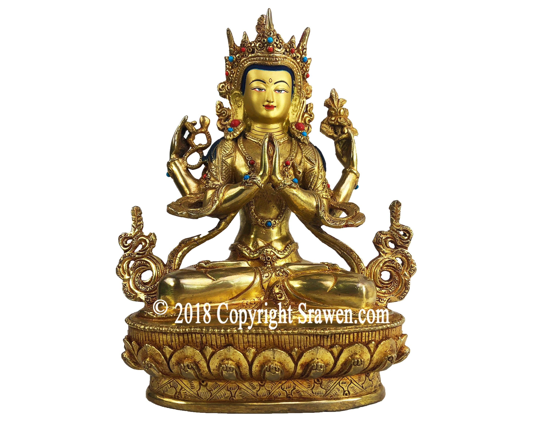 "9/"" Antique Tibet Buddhism hand painting copper gilt Manjusri Bodhisattva statue"