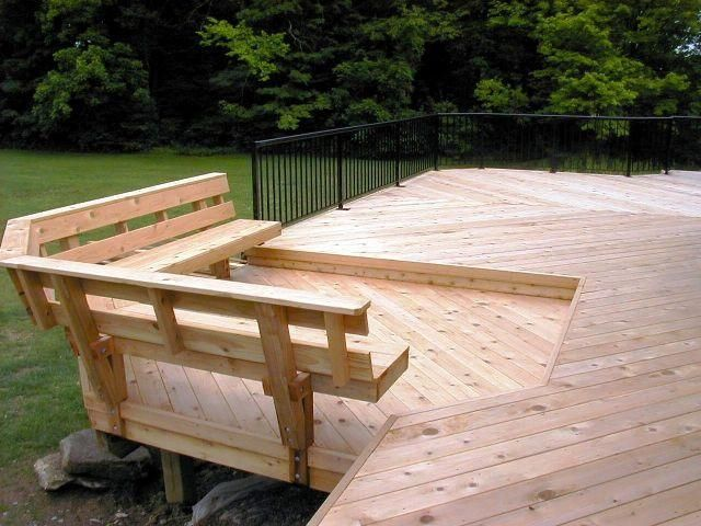 Built In Deck Bench Plans | Bench With Back Support   Accessories Photo  Gallery   Archadeck Nice Look
