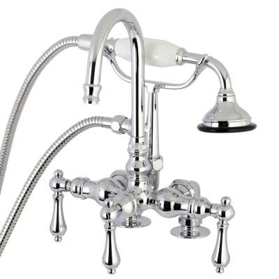 Kingston Brass Lever 3 Handle Claw Foot Tub Faucet With Handshower