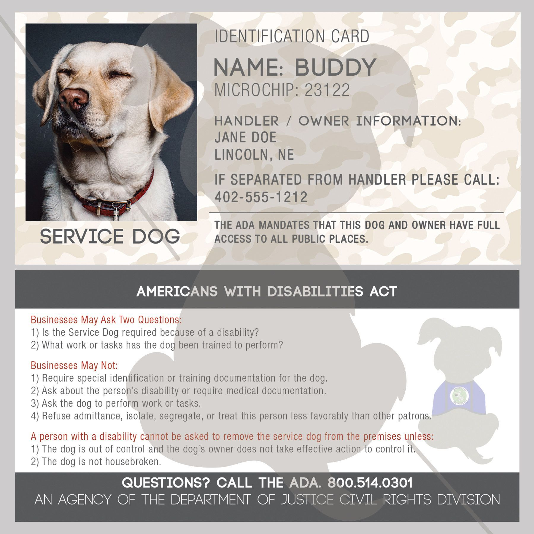 ID Card - Service Dog | Service dogs, Dog and German shepherds