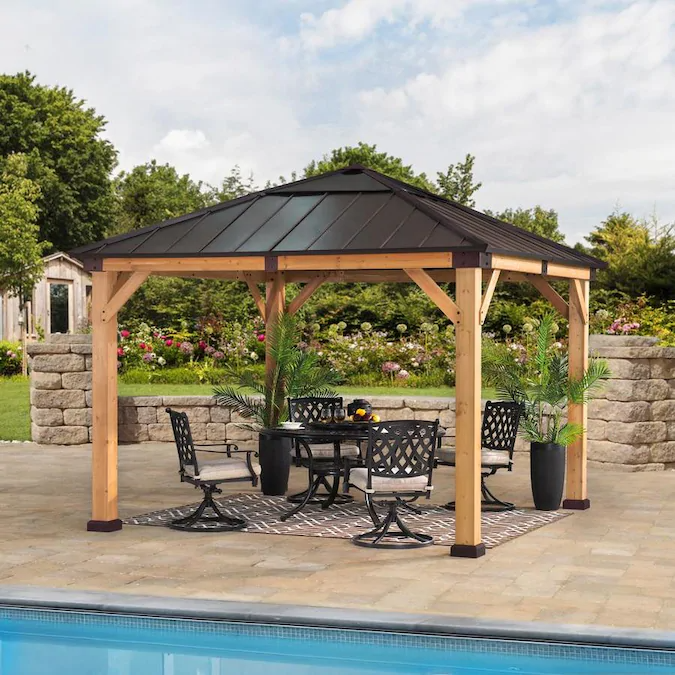 Sunjoy Brown Wood Square Gazebo Exterior 10 1 Ft X 10 1 Ft Foundation 10 Ft X 10 Ft Lowes Com In 2020 Backyard Gazebo Outdoor Pavilion Backyard Patio