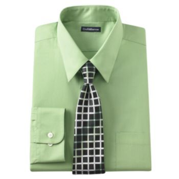 Croft & Barrow Classic-Fit Point-Collar Dress Shirt with Patterned Tie Box Set - Men
