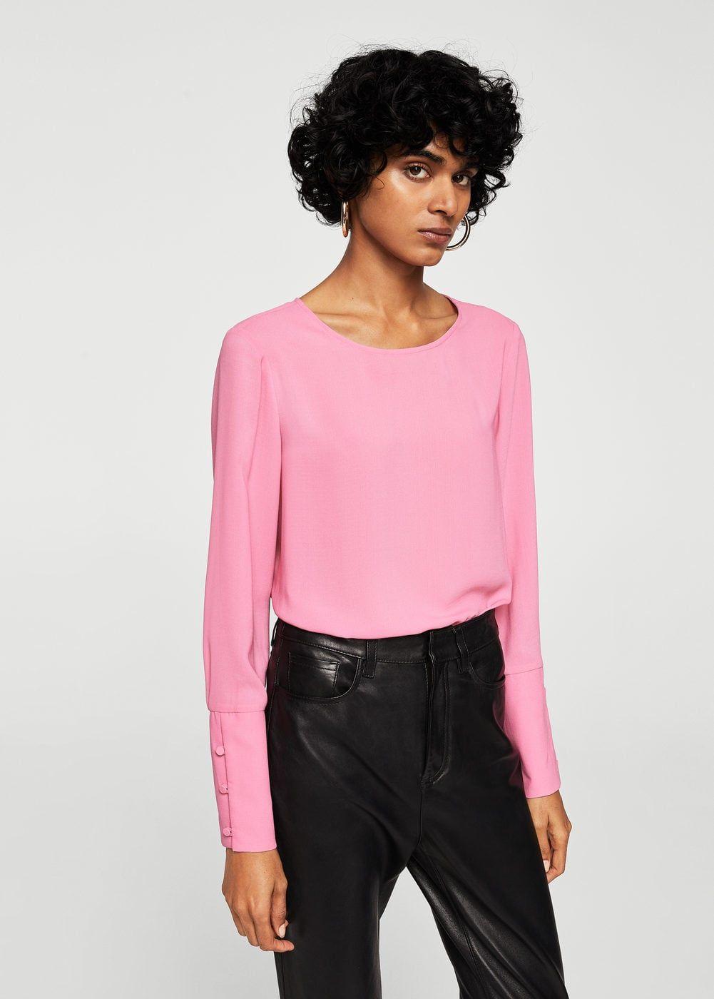 Mango Kleding.Buttoned Sleeves Blouse F Folong Sleeve Women Mango Blouse