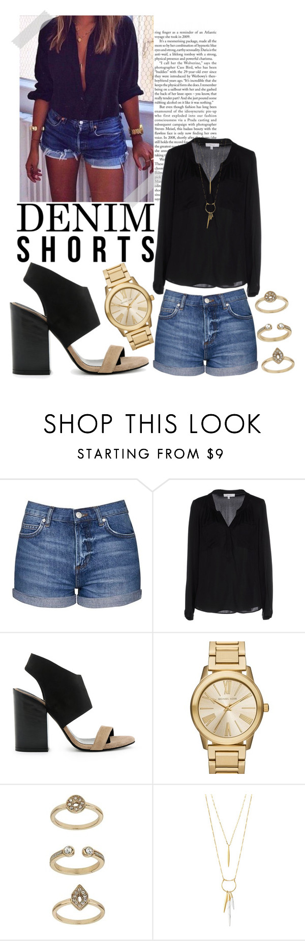 """""""The Final Cut: Denim Shorts (3)"""" by sc-styles ❤ liked on Polyvore featuring Topshop, Milly, Dee Keller, MICHAEL Michael Kors and Stella & Dot"""