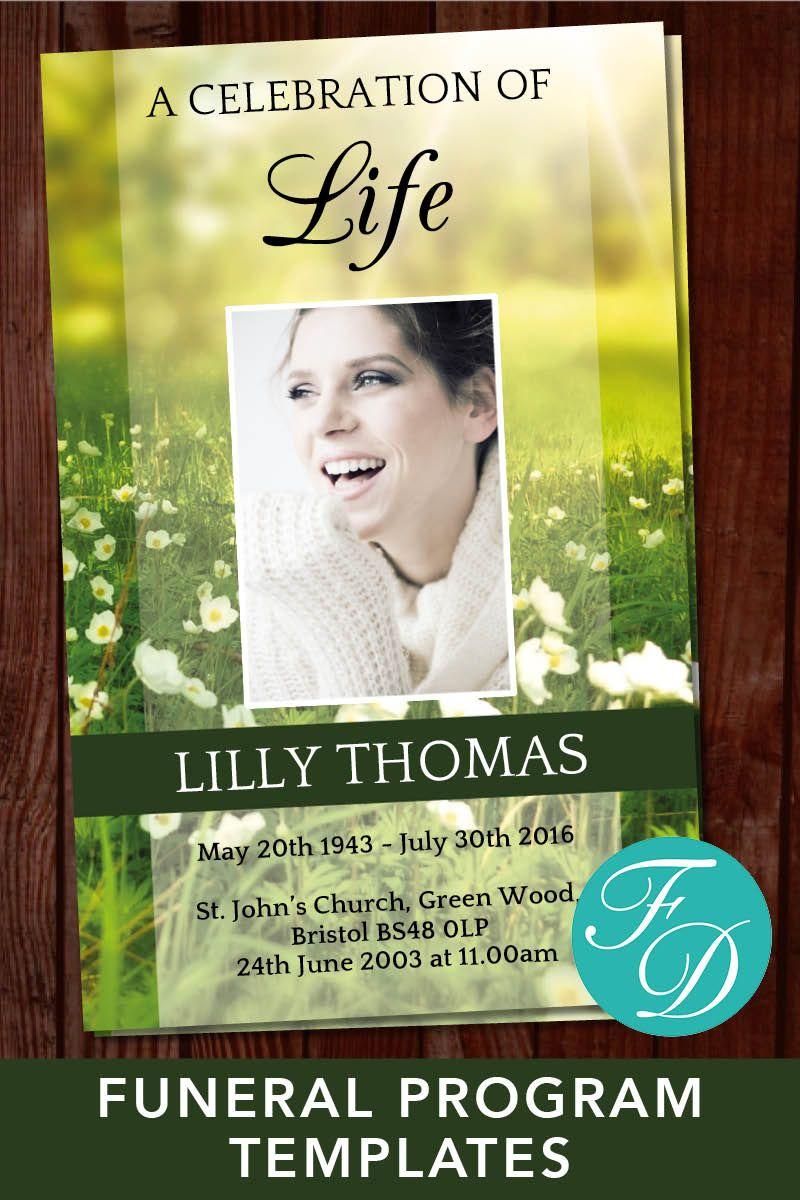 Celebration of life program template funeral program