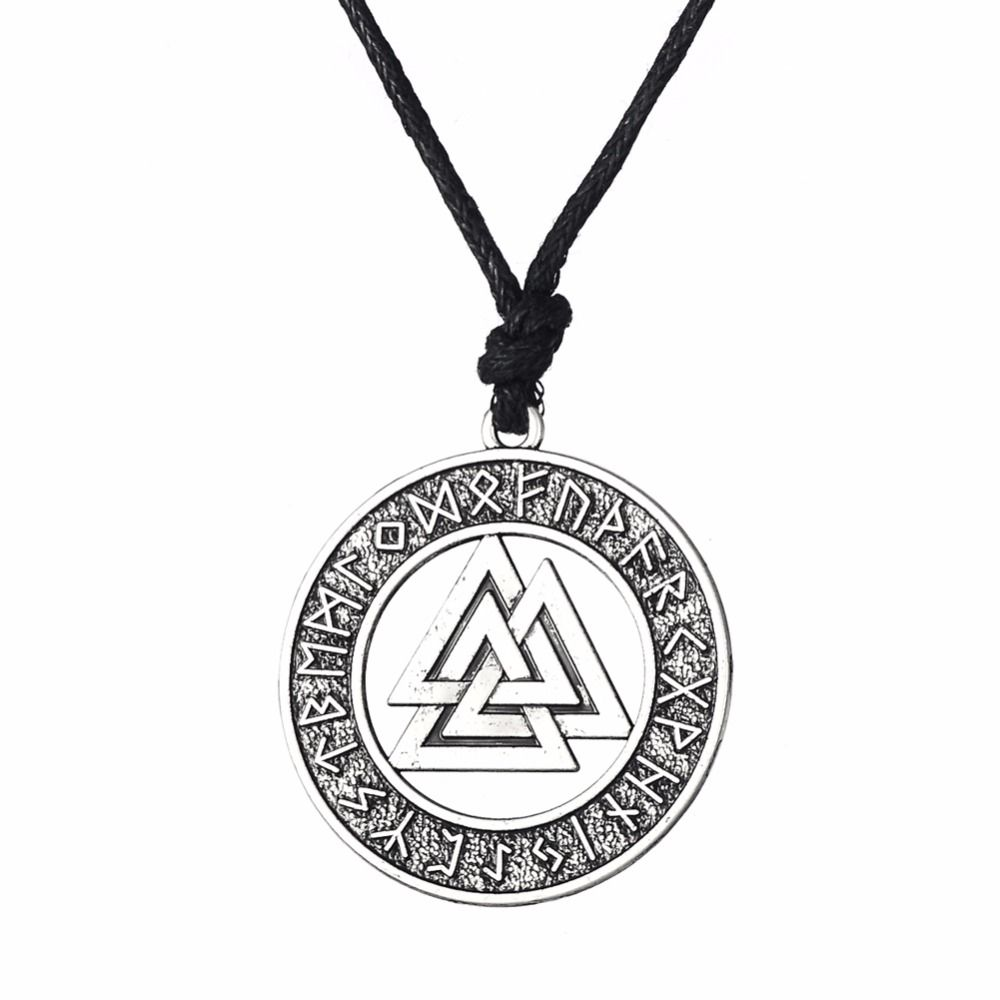 Valknut odin s symbol of norse viking warrior amulet pendant rope valknut odin s symbol of norse viking warrior amulet pendant rope chain necklaces men aloadofball Images
