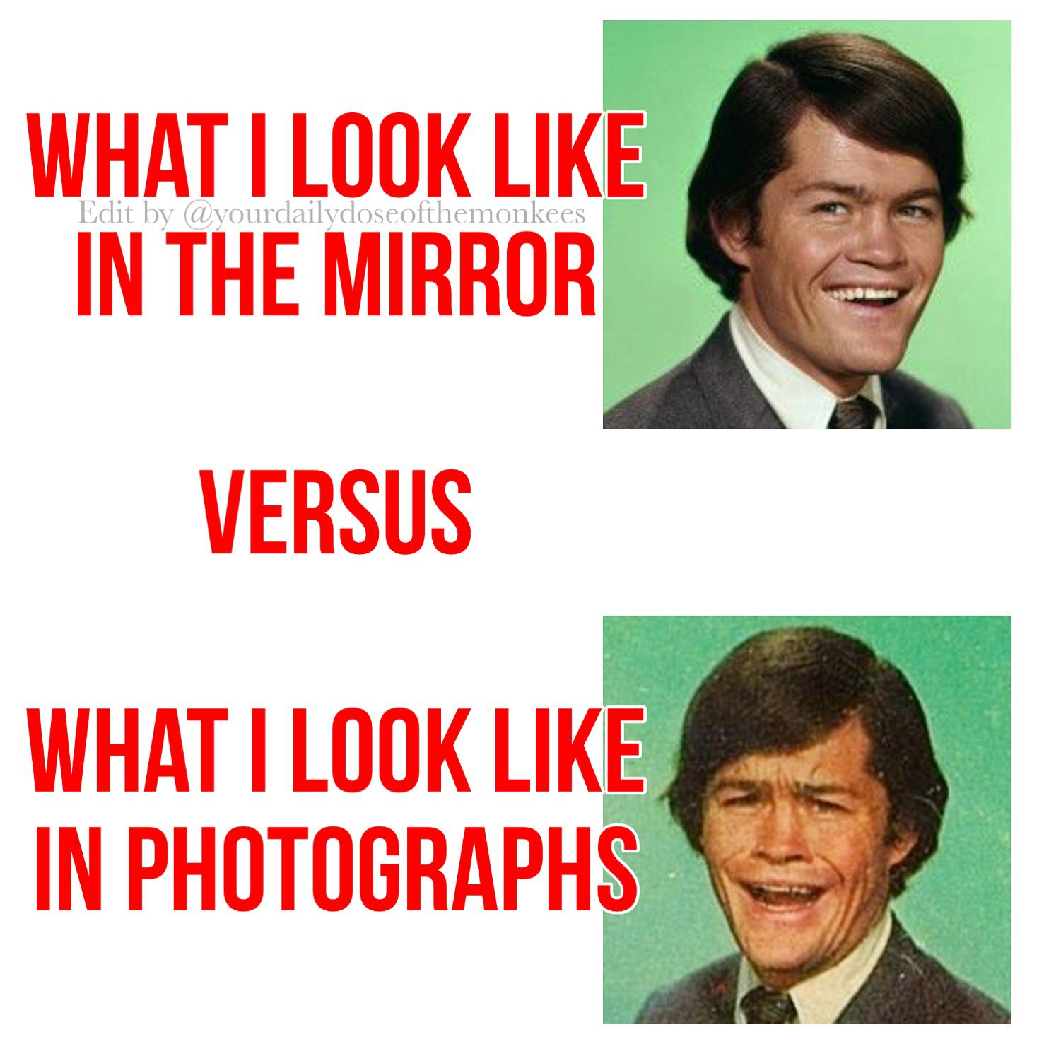 The Monkees Memes David Jones Mike Nesmith Peter Tork Micky Dolenz 1960's Clean Humor Funny Memes Expectations Versus Reality