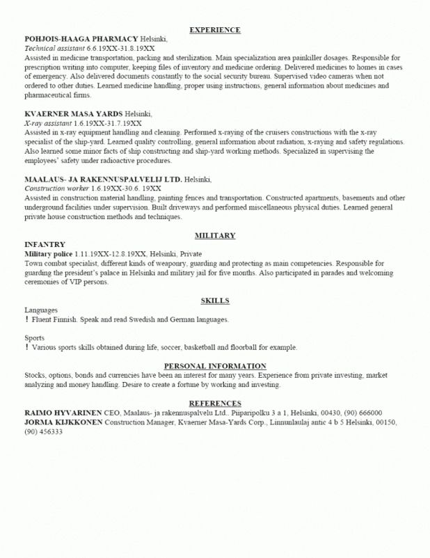 Sample Resume Army Military Resumes Sle Infantry And Templates
