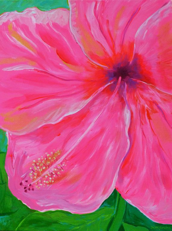 Pink Hibiscus Close Up 2 By Faith Jordan In Etsy Shop Faithcolors 24x18x3 4 Original Acrylic Painti Acrylic Painting Flowers Floral Artwork Flower Painting