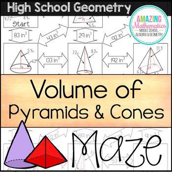 Volume Of Pyramids Cones Maze Hs Geometry Level Geometry