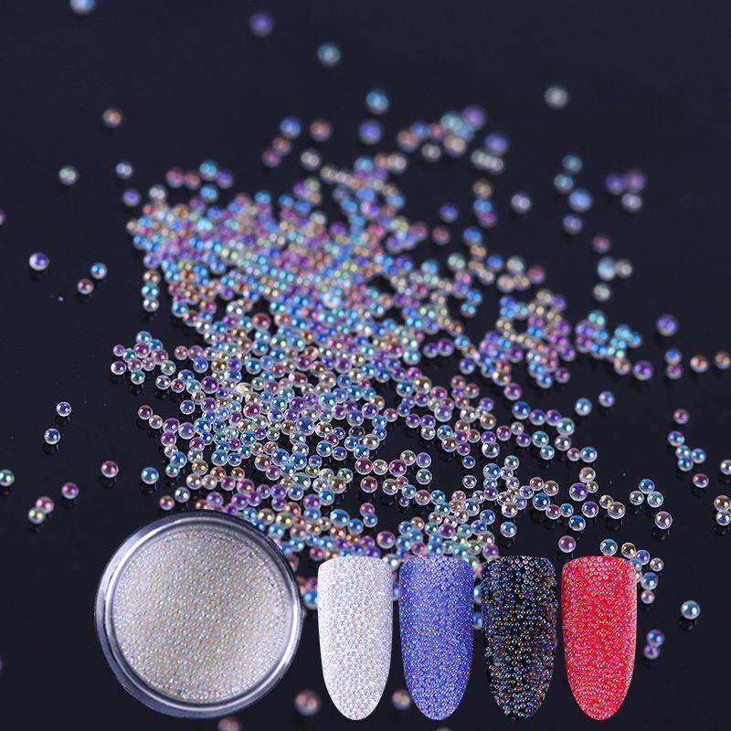 1 Box Nail Glitter White Caviar Beads Glitter Powder Nail Art Dust