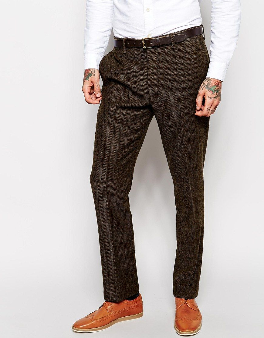 d719d56a18d Trousers by ASOS Wool-mix tweed Zip fly with hook