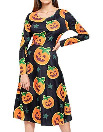 Photo of Simple-Fashion Freizeit Kürbis Druck Plissee Kleid Blusenkleider