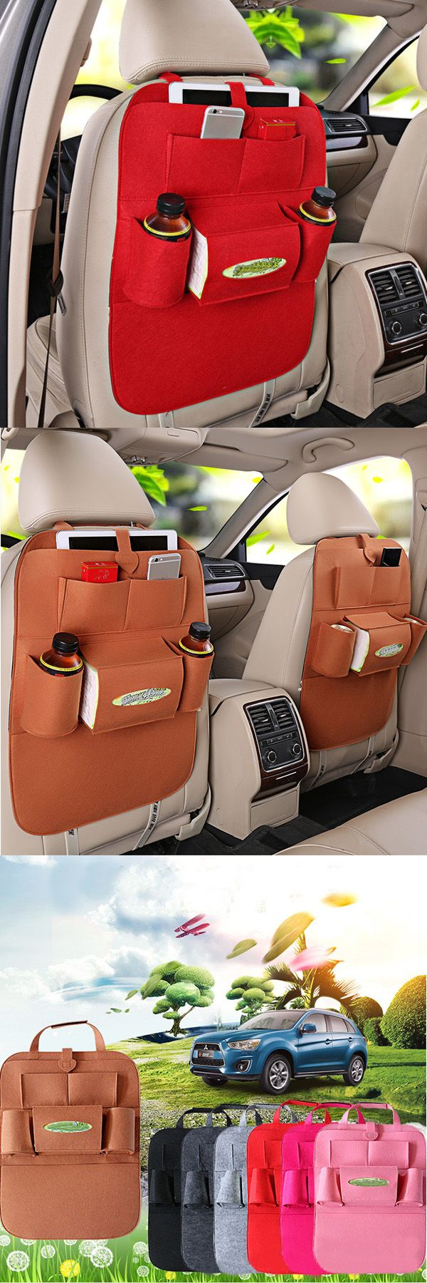 US$6.99 + Free shipping. Auto car seat storage bag hanger, car seat cover organizer, multifunction vehicle storage bag, car storage bag. Material: Felt.