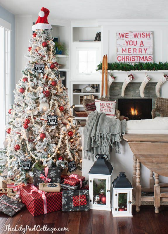 Classic Christmas Tour, lots of vintage touches, red and white lake house Christmas tour.