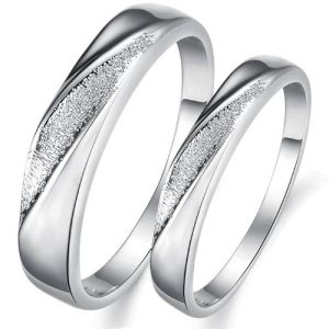 Loveru0027s White Gold Plated Wedding Ring For Couple Promise Ring Anniversory  Ring With Combined Polished And