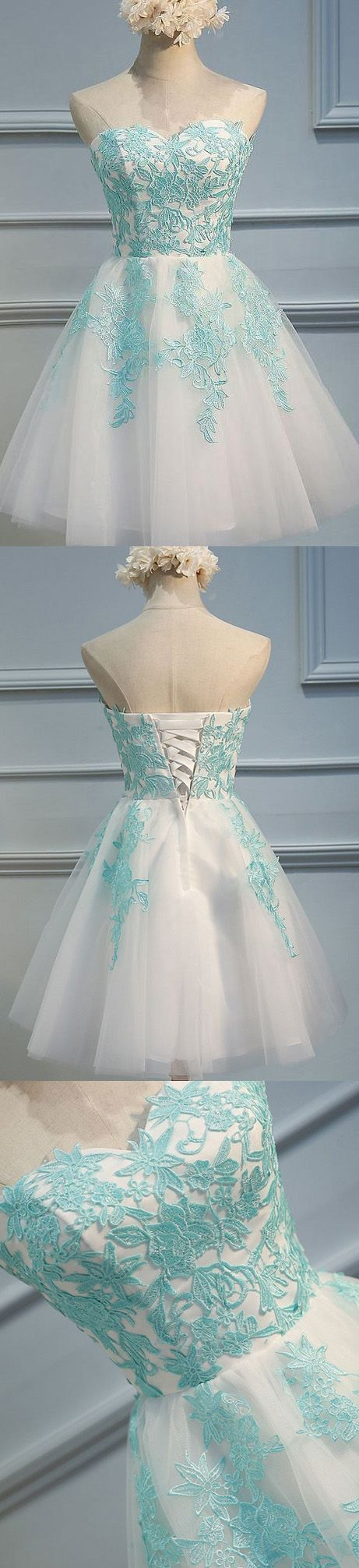 Customized Mini Prom Party Dress Short Ivory Dresses With Lace Up ...