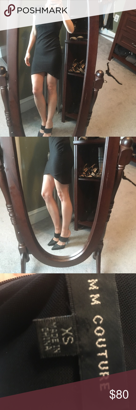 MM couture Black dress Only worn once. Love this dress but it's a little short for my taste so must find a new home. High in the front and longer in the back. Size xs. Thick material. Beautiful detail. MM Couture Dresses
