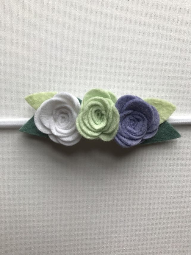Felt flower headband in lilac, mint and white #feltflowerheadbands