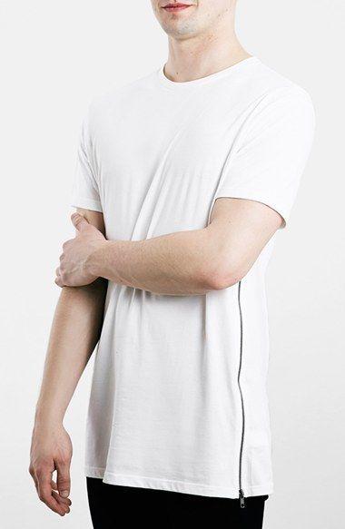 02d90e8a Topman Zip Detail Slim Fit Longline T-Shirt ...