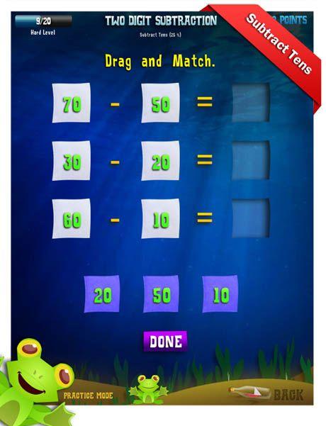 Second Grade Math Apps - Two Digit Subtraction - Regroup Ones As Tens  Worksheet Math Practice Games, Fun Math, Kindergarten Games