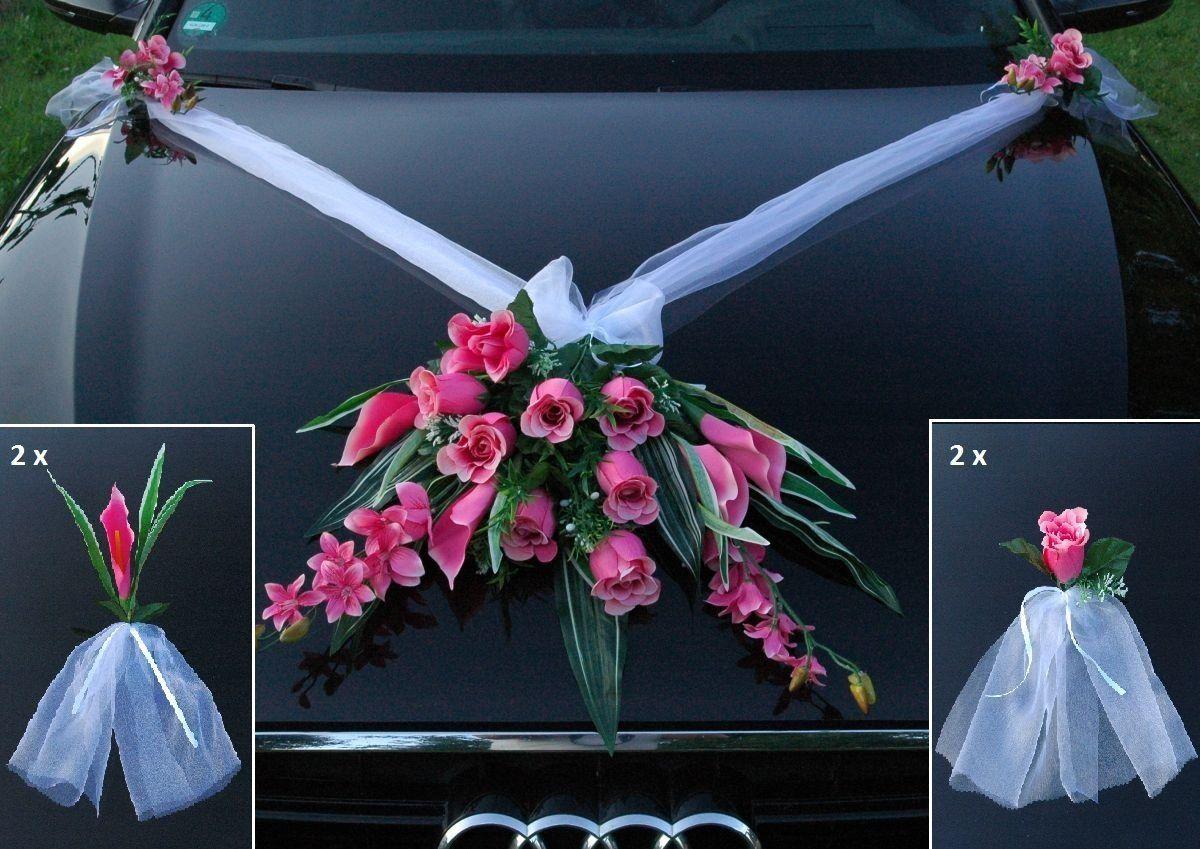 Dekoset Fur Das Hochzeitsauto Kunstliche Blumen Deko Fur Schnelle